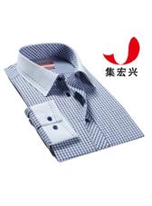 蓝色小格子男士休闲衬衫定制