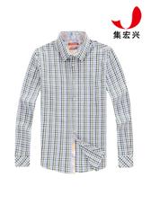 男士小格子休闲衬衫定制