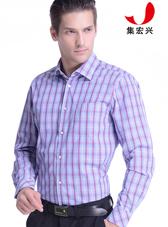 男士红色大格子商务衬衫定制