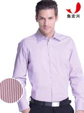男士红色条纹衬商务衫定制